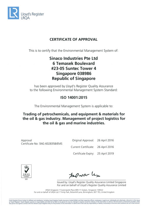 Certifications – Sinaco Industries